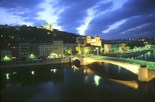 The Saone river, Old Lyon and the hill of Fourviere at night
